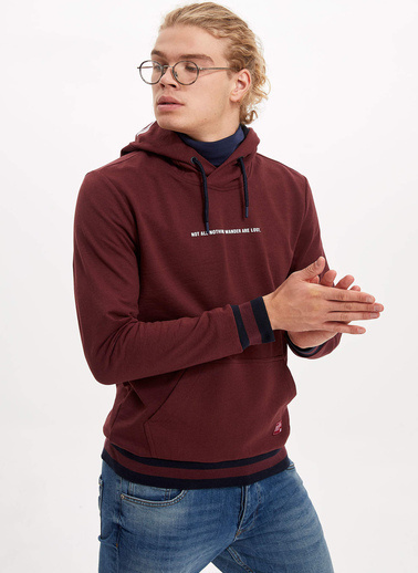 DeFacto Kapüşonlu Baskılı Slim Fit Sweatshirt Bordo